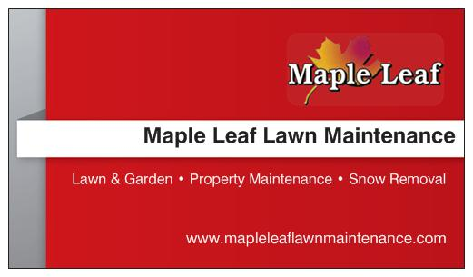 front of red maple leaf lawn maintenance business card with service details