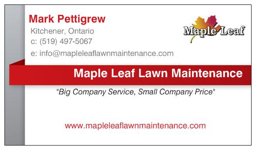 back of white maple leaf lawn maintenance business card with contact details